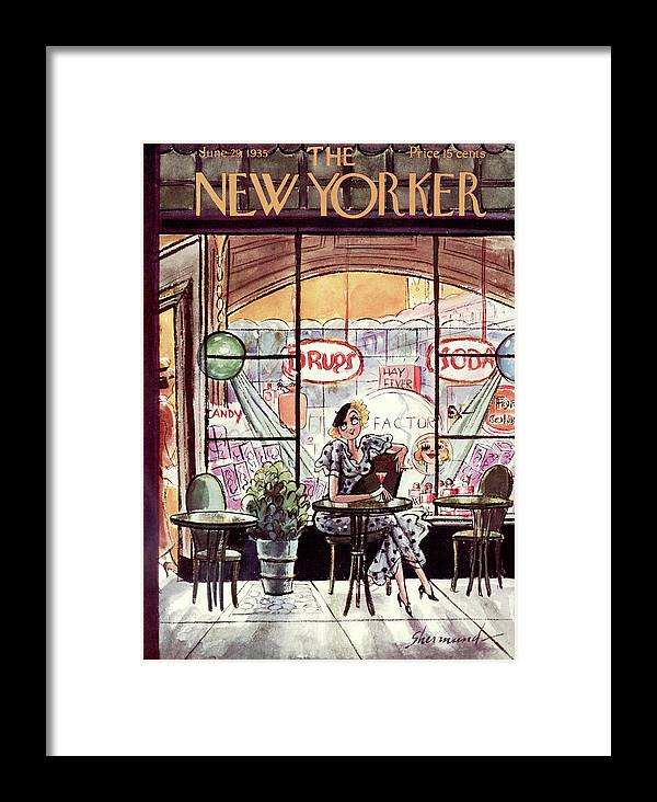 (a Woman Has A Drink And Smokes A Cigarette At A Table Outside An Old Fashioned Drug & Soda Fountain Store.) Dining Drinking Addictions Fitness Barbara Shermund Artkey 46843 Framed Print featuring the painting New Yorker June 29th, 1935 by Barbara Shermund