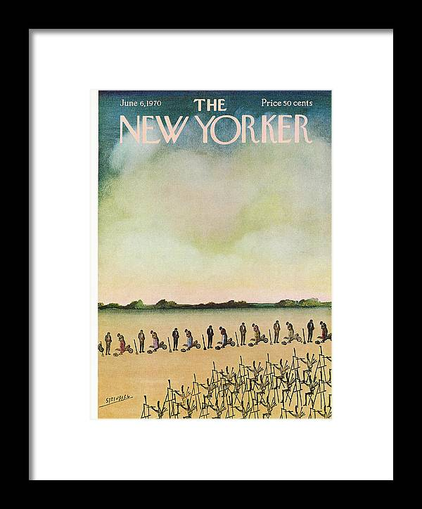 Saul Steinberg 50067 Steinbergattny Framed Print featuring the painting New Yorker June 6th, 1970 by Saul Steinberg