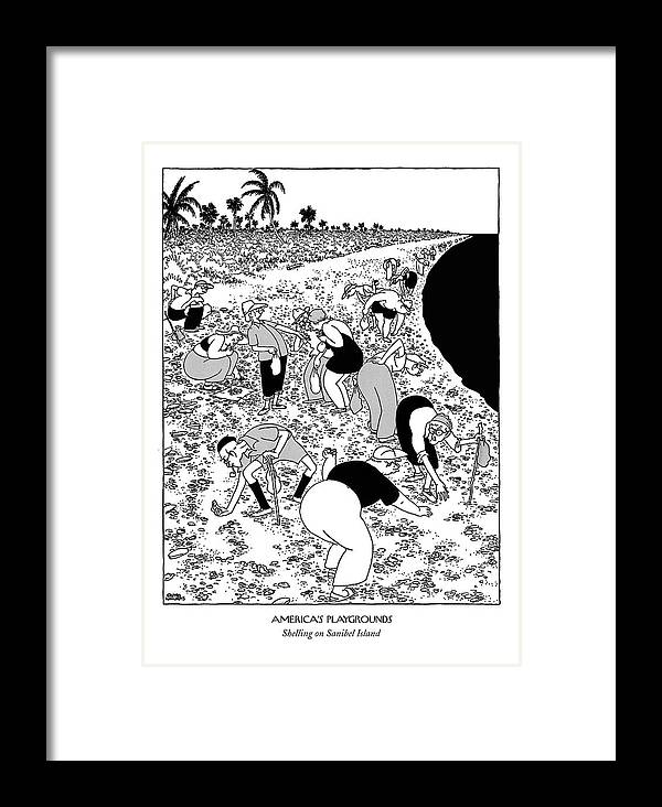 America's Playgrounds Shelling On Sanibel Island (elderly Tourists Bent Over Stiffly Framed Print featuring the drawing New Yorker March 10th, 1951 by Gluyas Williams