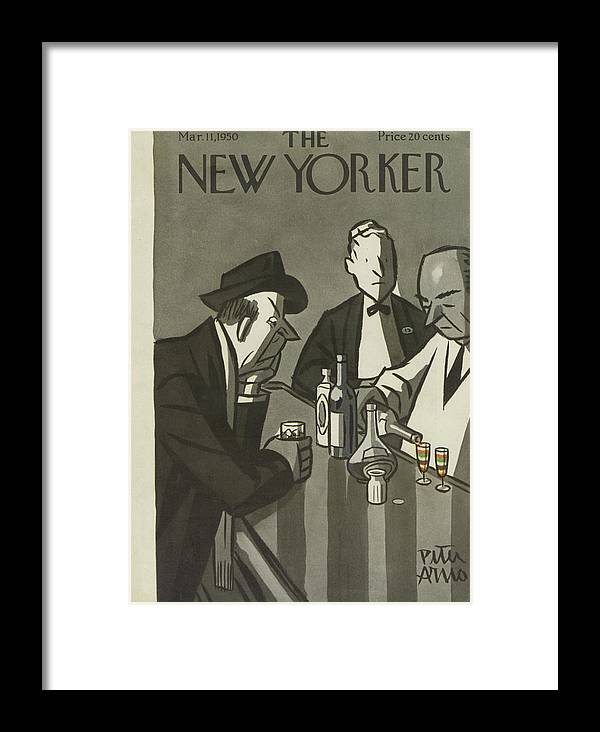 Drinking Drunk Drink Hangover Hungover Liquor Alcohol Booze Wine Beer Alcohol Alcoholic Bar Whiskey Pub Tavern Bartender Peter Arno Par Sumnerok Artkey 49140 Framed Print featuring the painting New Yorker March 11th, 1950 by Peter Arno