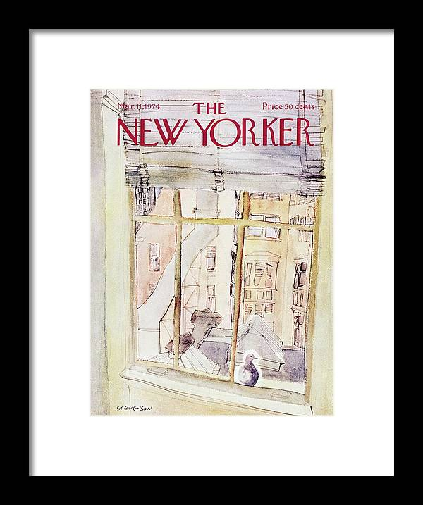 Illustration Framed Print featuring the painting New Yorker March 11th 1974 by James Stevenson
