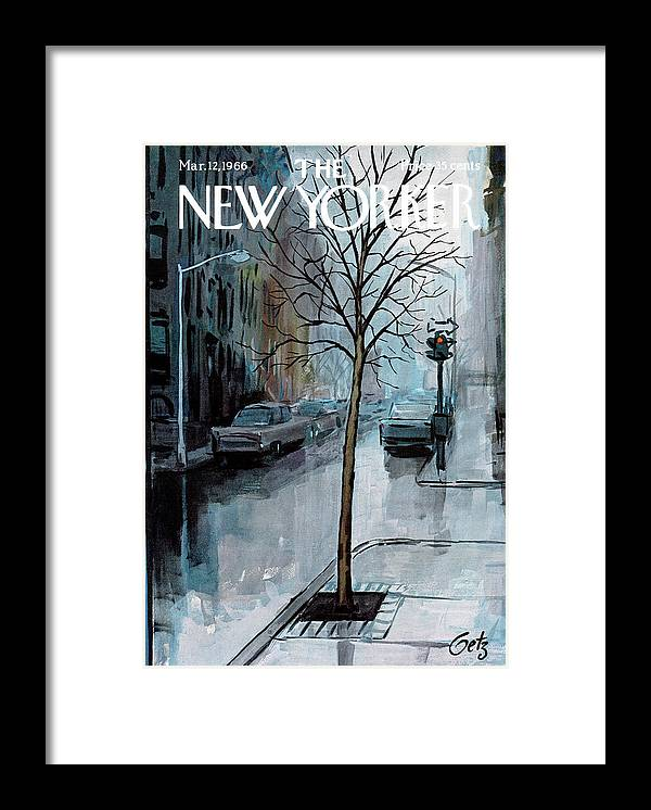 Rain Framed Print featuring the painting New Yorker March 12th, 1966 by Arthur Getz