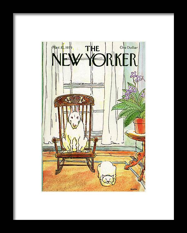 Animals Framed Print featuring the painting New Yorker March 12th, 1979 by George Booth