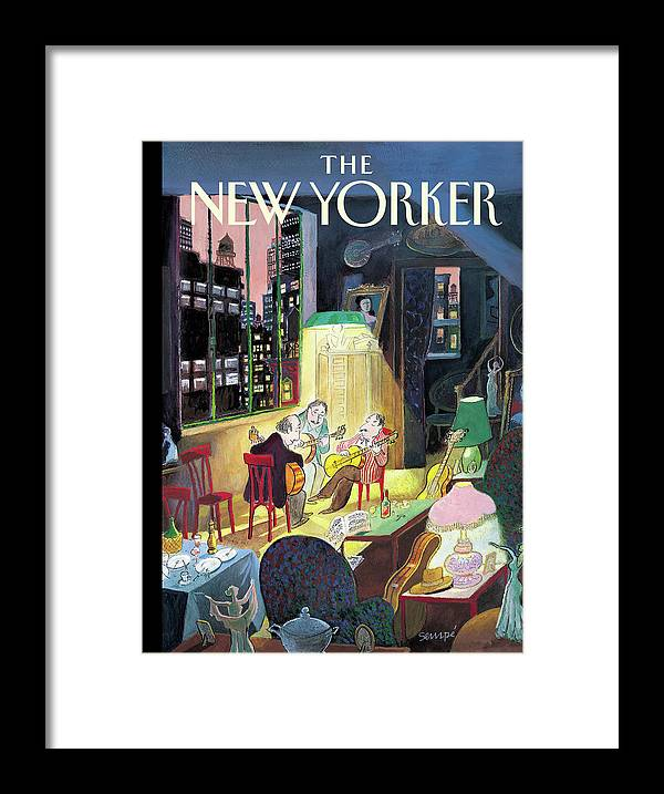 122064 122064 Jse J.j. Sempe Framed Print featuring the painting New Yorker March 13th, 2006 by Jean-Jacques Sempe