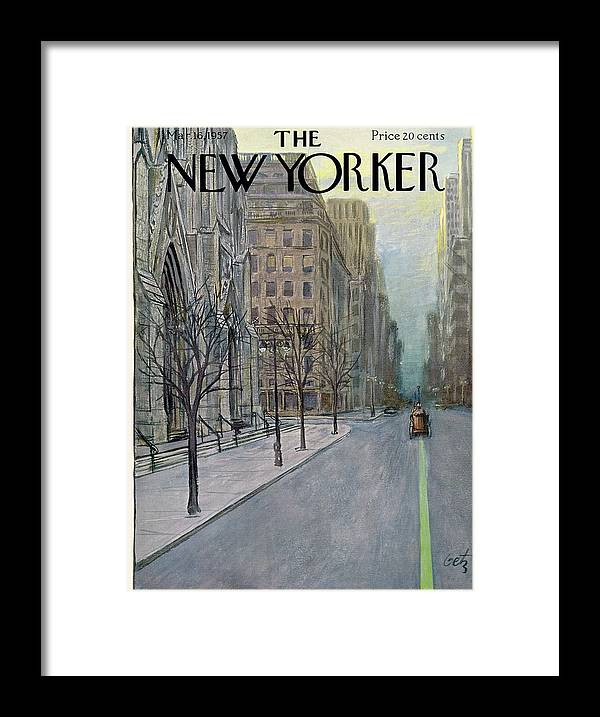 Urban Framed Print featuring the painting New Yorker March 16th, 1957 by Arthur Getz