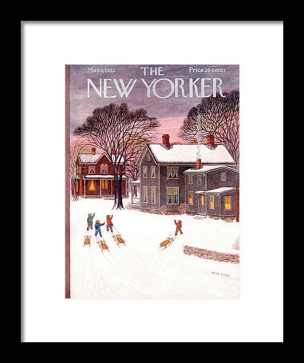 Kid Framed Print featuring the painting New Yorker March 1st, 1952 by Edna Eicke