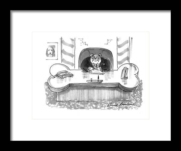 (executive Framed Print featuring the drawing New Yorker March 1st, 1993 by Bernard Schoenbaum