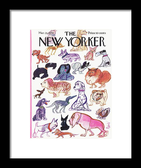 Animals Framed Print featuring the painting New Yorker March 21st, 1970 by Kenneth Mahood