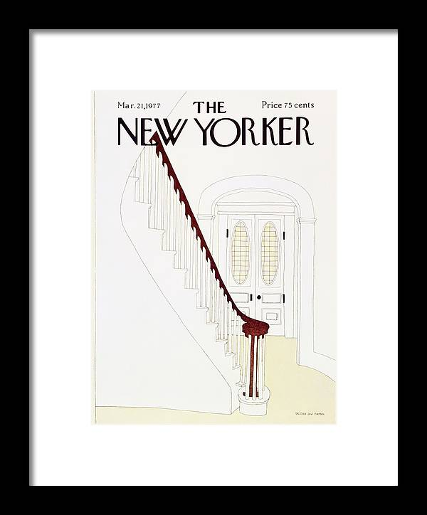 Illustration Framed Print featuring the painting New Yorker March 21st 1977 by Gretchen Dow Simpson