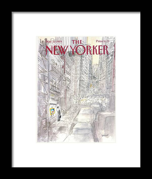 New York City Framed Print featuring the painting New Yorker March 21st, 1988 by Jean-Jacques Sempe