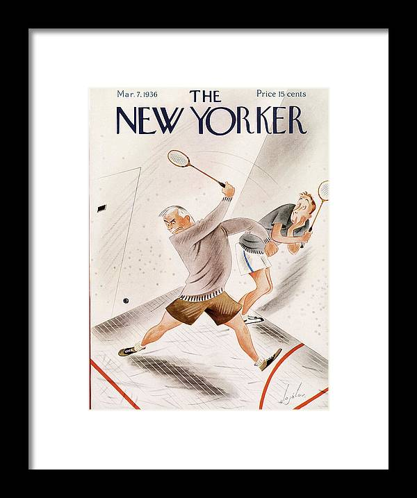Racquet Ball Framed Print featuring the painting New Yorker March 7, 1936 by Constantin Alajalov