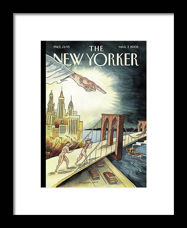 120649 120649  Mha Marcellus Hall Framed Print featuring the painting New Yorker March 7, 2005 by Marcellus Hall