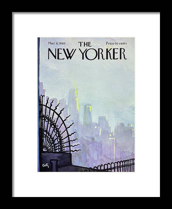 Illustration Framed Print featuring the painting New Yorker March 8th 1969 by Arthur Getz