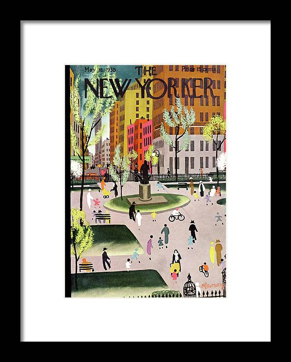 Park Framed Print featuring the painting New Yorker May 18, 1935 by Adolph K Kronengold