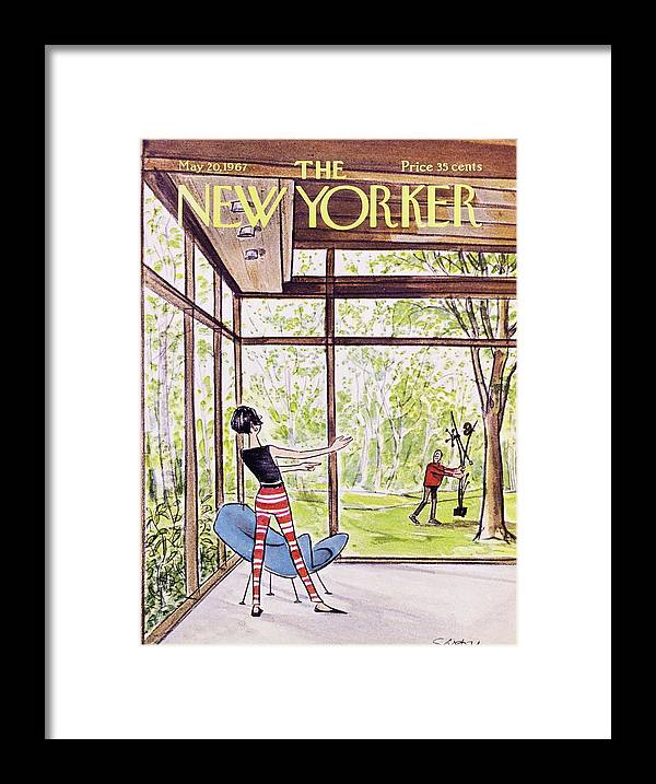 Illustration Framed Print featuring the painting New Yorker May 20th 1967 by Charles D Saxon
