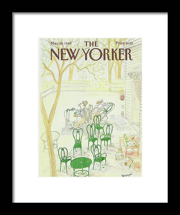 Restoration Framed Print featuring the painting New Yorker May 20th, 1985 by Jean-Jacques Sempe