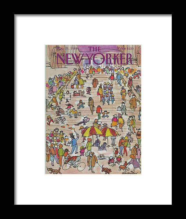 Metropolitan Museum Framed Print featuring the painting New Yorker May 21st, 1984 by James Stevenson