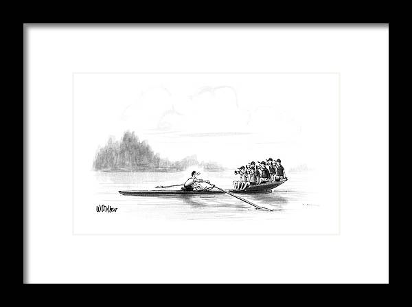(a Man Rows A Boat By Himself Framed Print featuring the drawing New Yorker May 28th, 1990 by Warren Miller