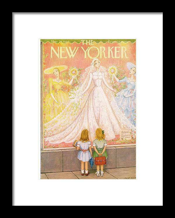 Marriage Framed Print featuring the painting New Yorker May 29th, 1954 by Edna Eicke
