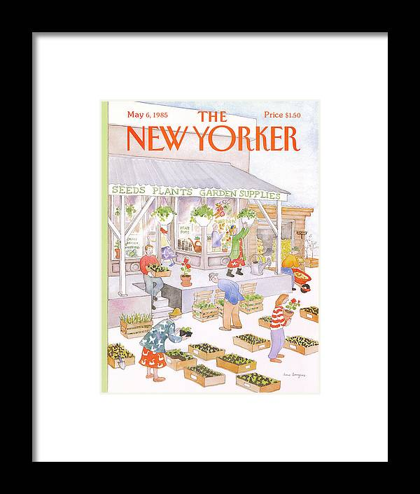 Garden Framed Print featuring the painting New Yorker May 6th, 1985 by Anne Burgess