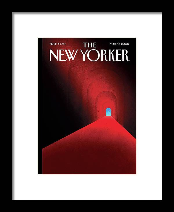 Tunnel Framed Print featuring the painting New Yorker November 10th, 2008 by Brian Stauffer