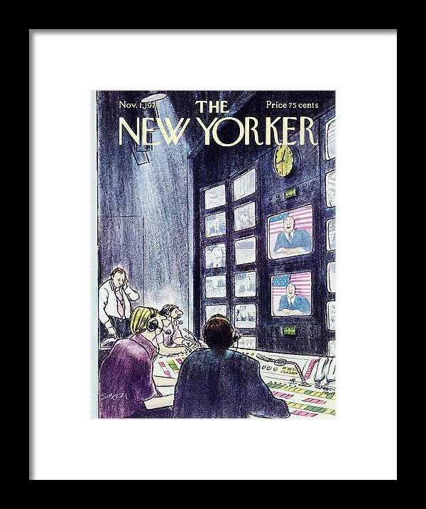 Illustration Framed Print featuring the painting New Yorker November 1st 1976 by Charles D Saxon