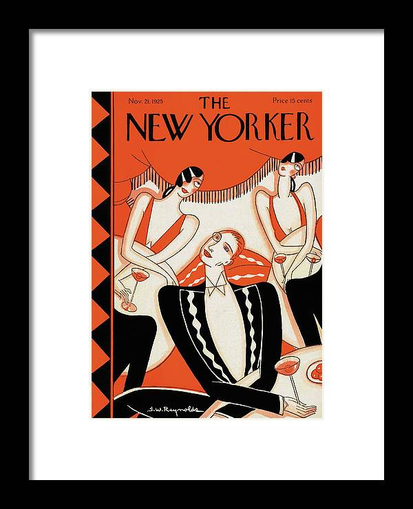 Cafe Framed Print featuring the painting New Yorker November 21st, 1925 by Stanley W Reynolds