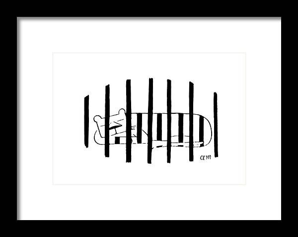 80771 Cma Charles E. Martin (striped Cat Sleeps Behind Bars Of Cage.) Animals Bars Behind Cage Captivity Cat Cats Coat Felines Illusion Markings Optical Sleeps Striped Tiger Tigers Zoo Framed Print featuring the drawing New Yorker November 25th, 1972 by Charles E. Martin