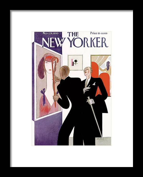 Fine Art Gallery Painting Critic Critique Fashion Portrait Deco Artist Sophistication Victor Bobritsky Vbo Artkey 48249 Framed Print featuring the painting New Yorker November 29th, 1930 by Victor Bobritsky