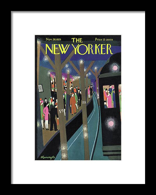 Subway Framed Print featuring the painting New Yorker November 30th, 1929 by Adolph K Kronengold