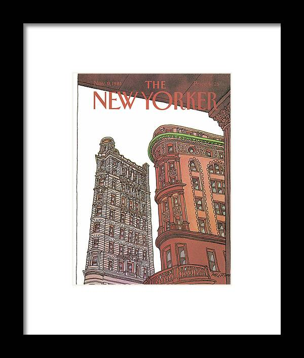 Business Offices Framed Print featuring the painting New Yorker November 9th, 1981 by Roxie Munro