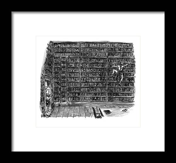 (a Librarian Watches As A Young Woman Climbs The Shelves Of The Library Without Using A Ladder.) (huge Library Room Framed Print featuring the drawing New Yorker October 10th, 1994 by Warren Miller