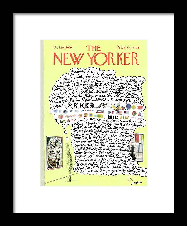 Saul Steinberg 50040 Steinbergattny  Framed Print featuring the painting New Yorker October 18th, 1969 by Saul Steinberg