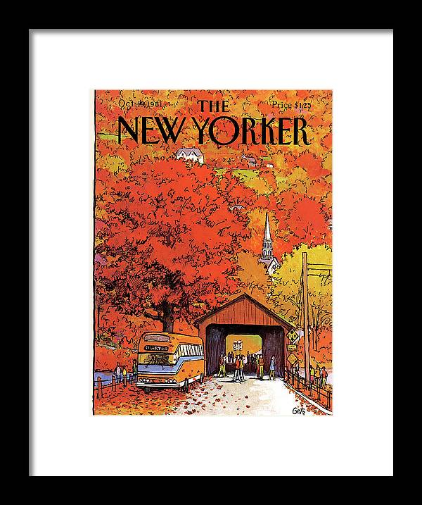 Season Framed Print featuring the painting New Yorker October 19th, 1981 by Arthur Getz