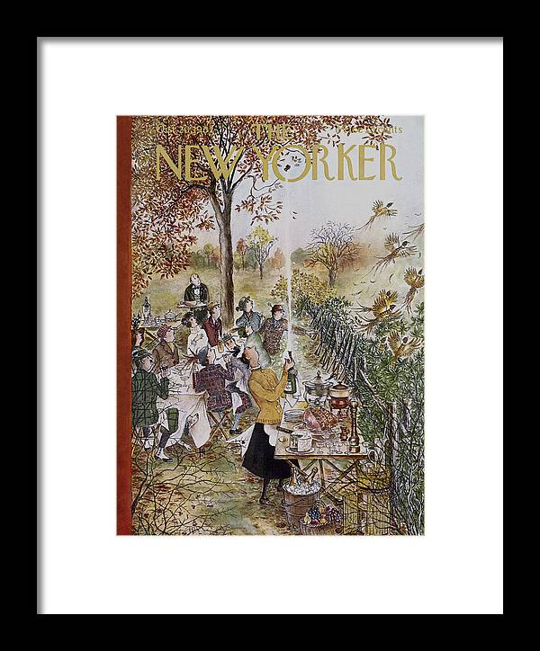 Animals Framed Print featuring the painting New Yorker October 20th, 1962 by Mary Petty