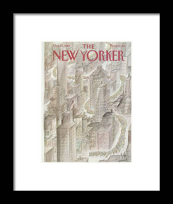 Marathon Framed Print featuring the painting New Yorker October 25th, 1982 by Jean-Jacques Sempe