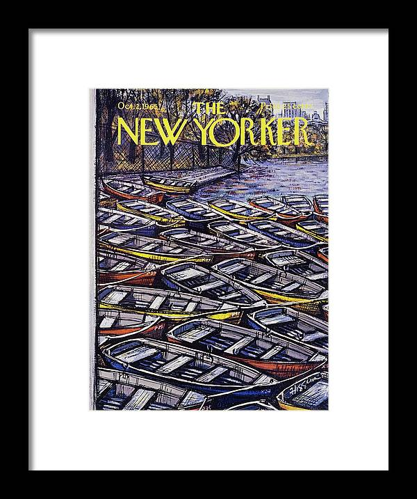 Illustration Framed Print featuring the painting New Yorker October 2nd 1965 by Donald Higgins