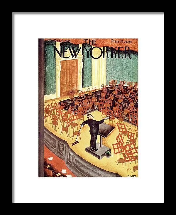 Music Symphony Orchestra Hall Conductor Rehearsal Pretend Charles Alston Cas Charles Alston Cas Artkey 48425 Framed Print featuring the painting New Yorker October 6th, 1934 by Charles Alston