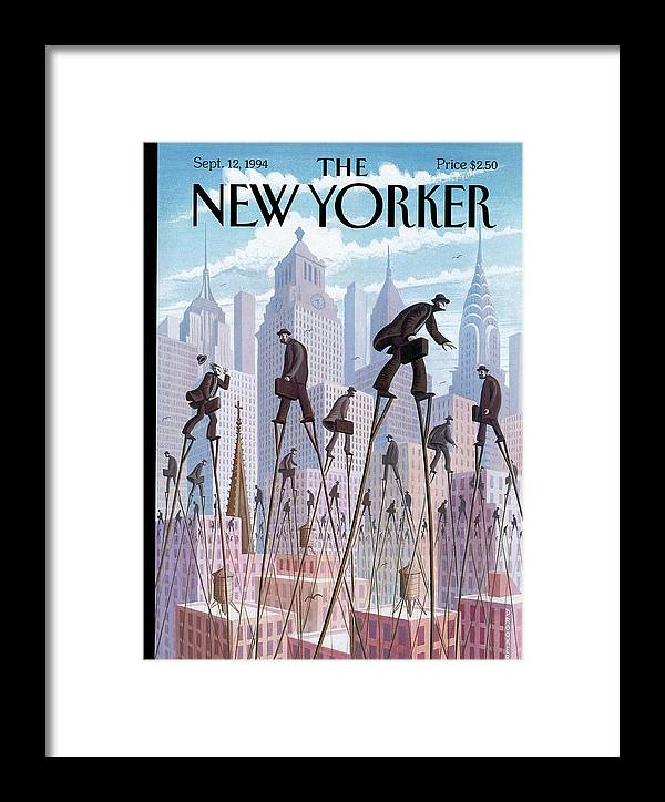 Life At The Top Framed Print featuring the painting New Yorker September 12th, 1994 by Eric Drooker