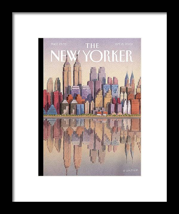 Twin Towers Framed Print featuring the painting Twin Towers by Gurbuz Dogan Eksioglu