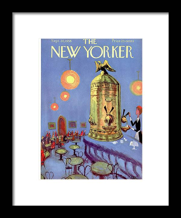 Dining Framed Print featuring the painting New Yorker September 20th, 1958 by Robert Kraus
