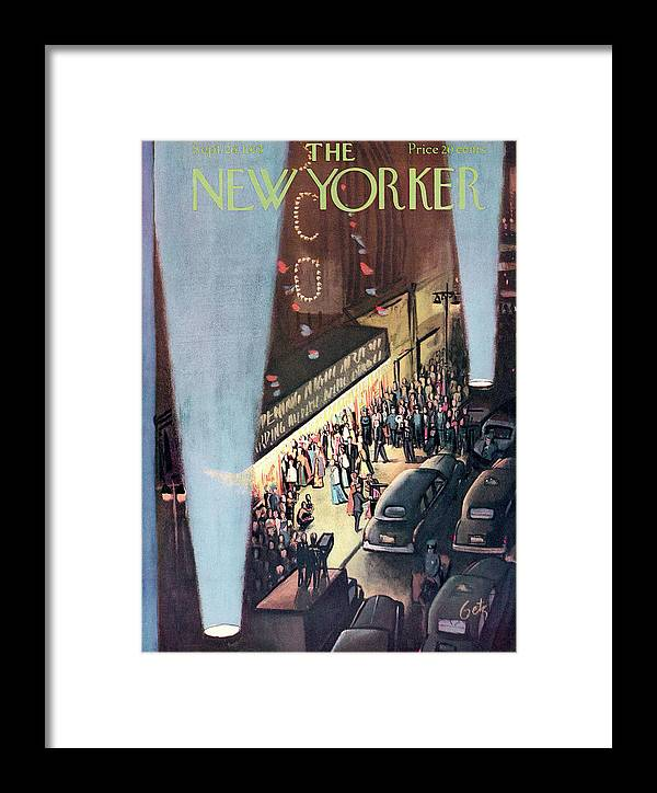 Urban City Manhattan New York City Skyscraper Skyscrapers Concert Music Musical Hall Theatre Performance Entertainment  Actors Actor Actress Dancer Performer Player Encore Orchestra Symphony Curtain Premiere Movie Film Motion Picture Party Celebration Gathering Event  Arthur Getz Agt Sumnerok Artkey 49309 Framed Print featuring the painting New Yorker September 26th, 1953 by Arthur Getz