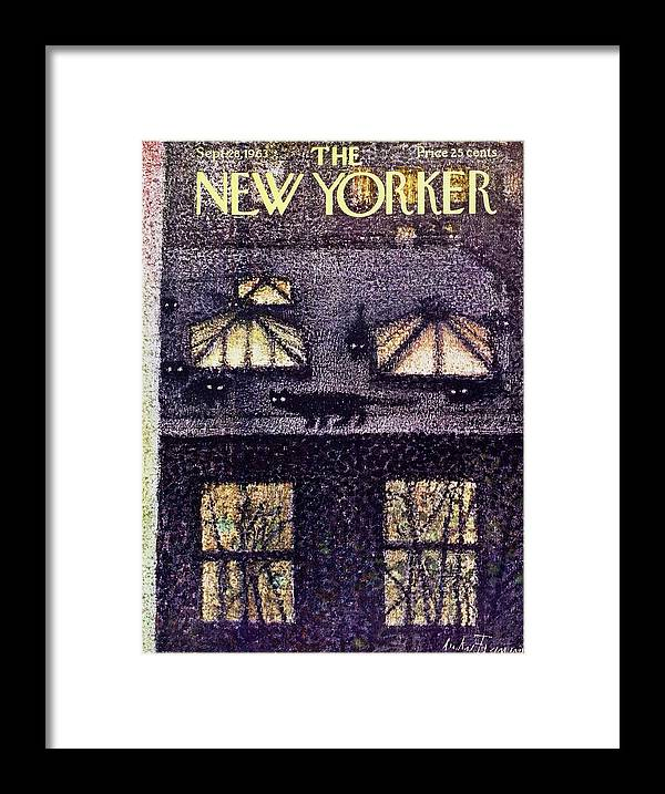 Illustration Framed Print featuring the painting New Yorker September 28th 1963 by Andre Francois