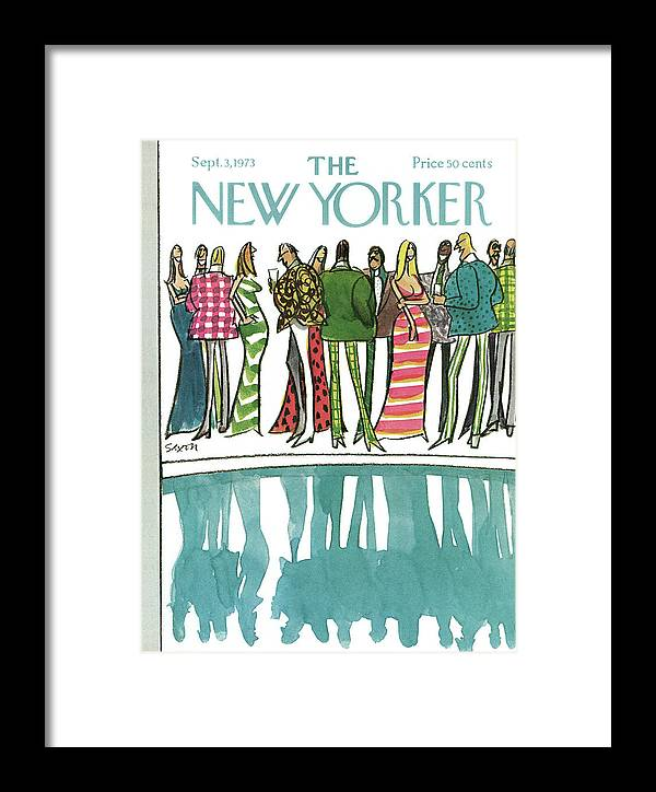 Party Framed Print featuring the painting New Yorker September 3rd, 1973 by Charles Saxon