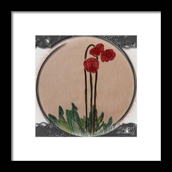 Newfoundland Pitcher Plant Porthole Vignette Framed Print featuring the drawing Newfoundland Pitcher Plant - Porthole Vignette by Barbara Griffin