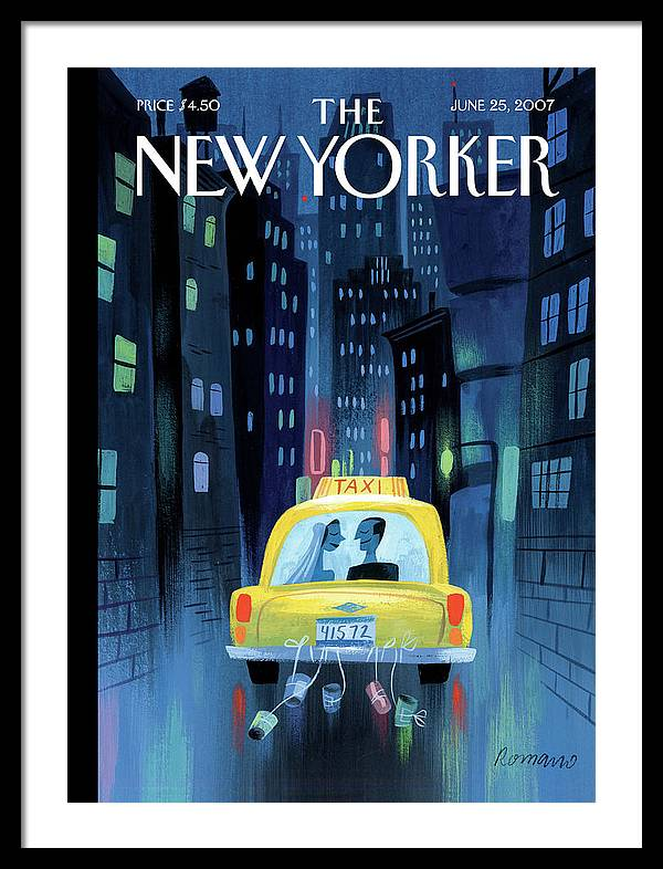 Newlywed Couple In A Taxi by Lou Romano