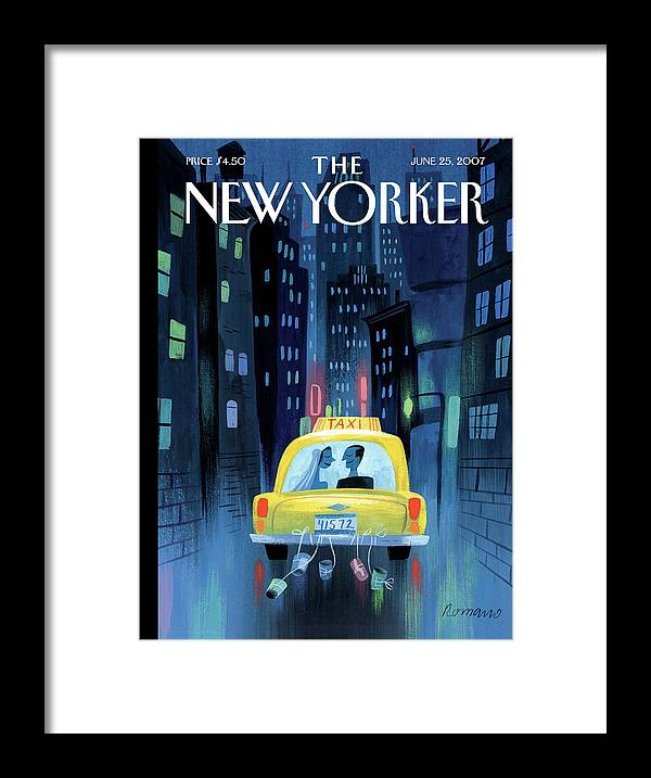 Taxi Framed Print featuring the painting Big City Romance by Lou Romano