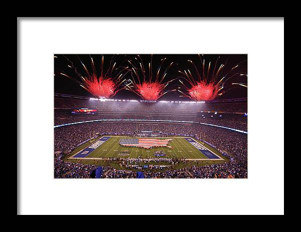 Firework Display Framed Print featuring the photograph Nfl Sep 18 Lions At Giants by Icon Sportswire