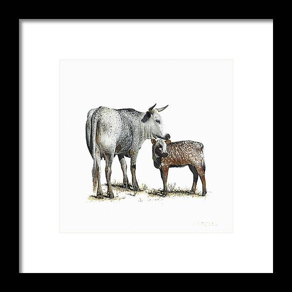 Nguni Framed Print featuring the painting Nguni Cow and Calf 2 by Edgar Pretorius