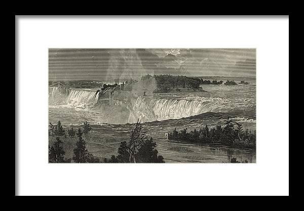 Niagara Falls Framed Print featuring the digital art Niagara Falls by Antique Engravings